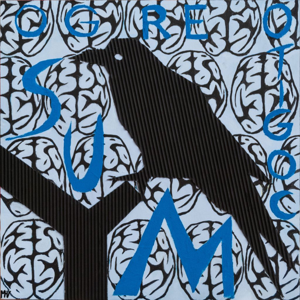 Huginn, a raven symbol of thought, mixedmedia painting
