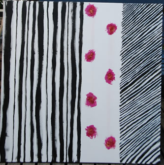Black bars and roses, mixed media painting