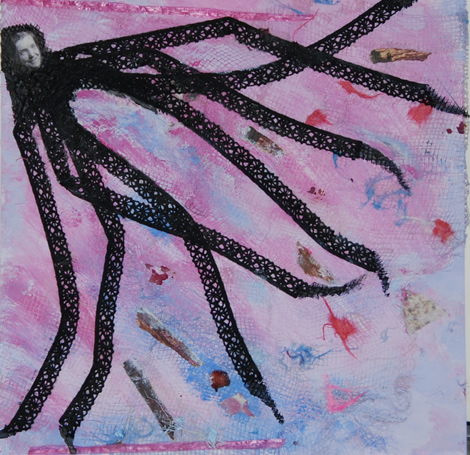 Tribute to Louise Bourgeois, mixed media painting