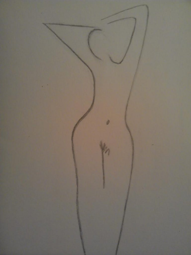Lines pleasure, nude woman drawing