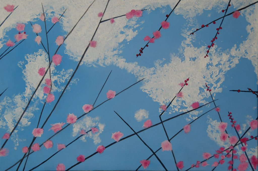 Flowers in the cloud, sakura and skymixedmedia painting