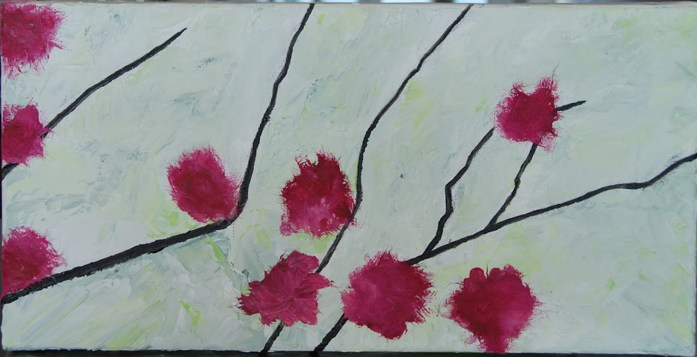 Sophie's cherry flowers, Haiku and small painting