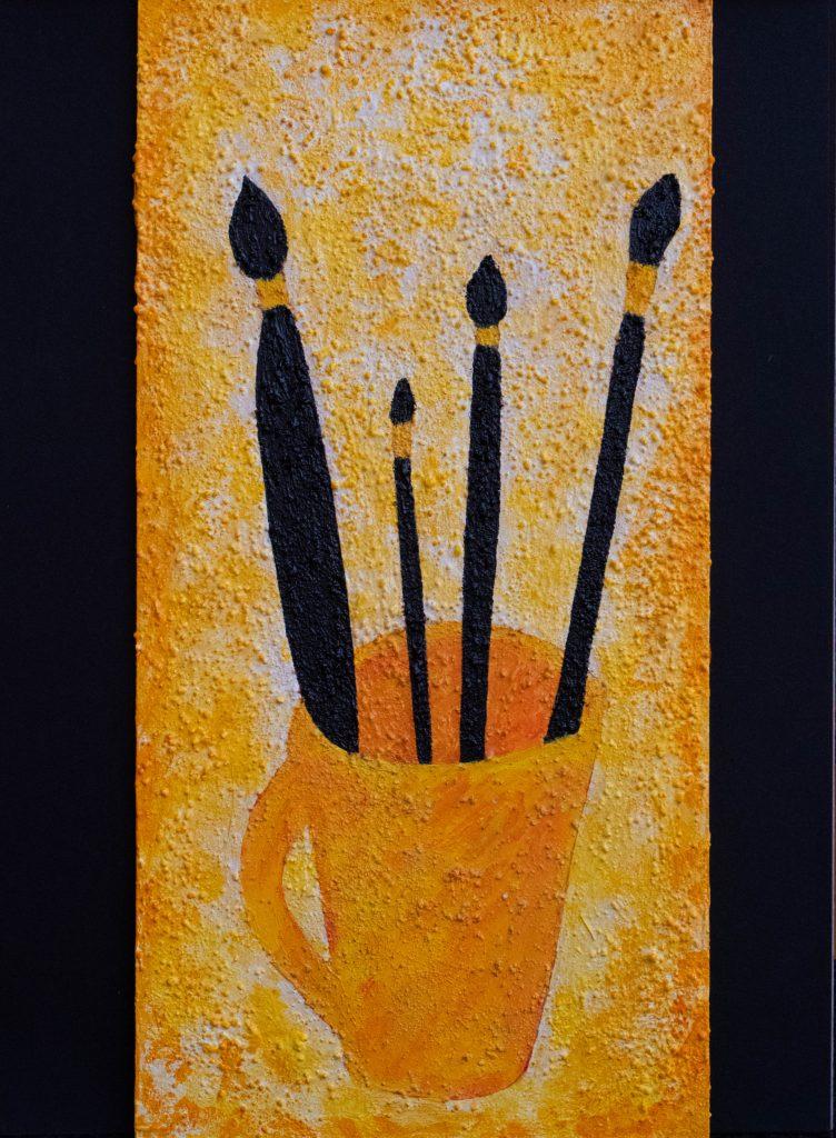 Pour faire le portrait d'un peintre, to do the portrait of a painter, mixed media painting and poem
