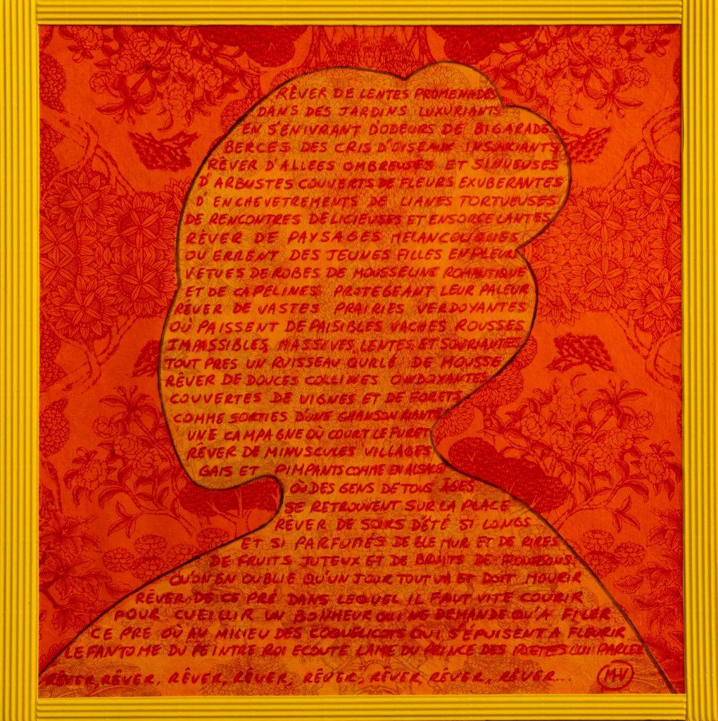 Rêver, poème, Mixed media painting , poem, dream